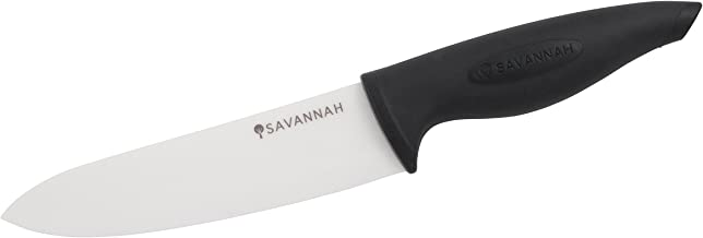SAVANNAH SAV-0404 Ceramic Chefs Knife w/Sheath, 16cm, Black/White