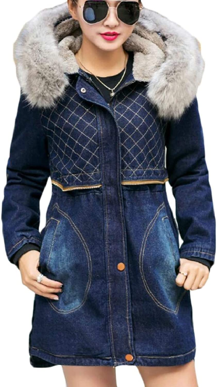 QDCACA Women's Winter FauxFur Collar Hoodies Denim Trench Coat Down Jacket Coat