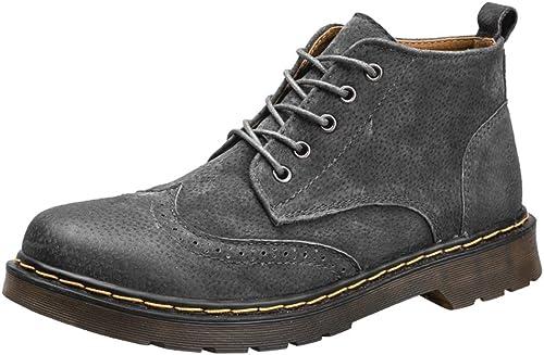 JUJIANFU-Chaussures Confortables Bottes en Cuir PU Mode Hommes Bottillon décontracté Simple et Confortable rétro Style Brogue Laçage Haut Botte (Couleur   gris, Taille   40 EU)