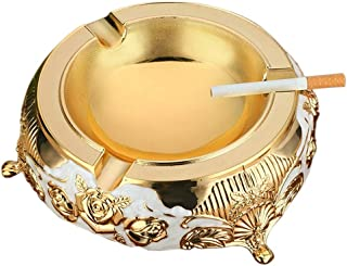 Ashtrays Tray Portable Easy to Clean Creative Personality Decorative Ashtray Home Decoration Ornaments Trend Decoration Electronic Cigarette Tray Fashion ashtray (Color : Gold, Size : 20 * 20 * 20cm)