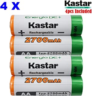 Kastar AA (4-Pack) Ni-MH 2700mAh Super High-Capacity Rechargeable Batteries Pre-Charged
