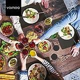 Vamoa Platzset Filz - 6er Tischset mit Platzdeckchen für Teller (eckig) und Untersetzer (rund) aus hochwertigem Filz mit Anti-Rutsch-Beschichtung - 6