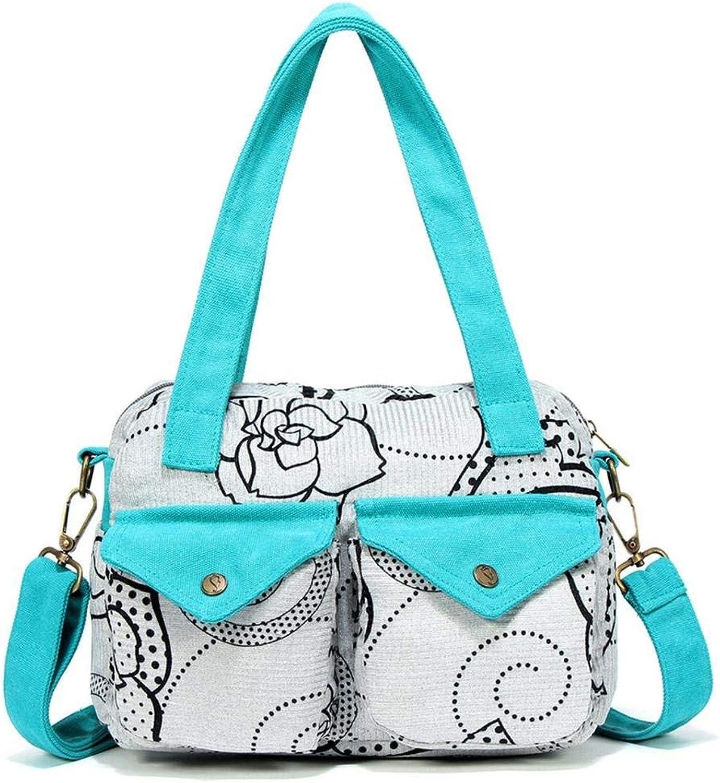 Huasen Evening Bag Women 's New Canvas Casual Messenger Bag Shoulder Bag Tote Bag Party Handbag (color   bluee)