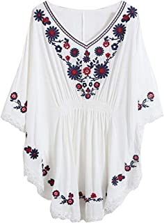 Kafeimali Women's Batwing Dressy Tunic Peasant Tops Mexican Embroidery Blouse