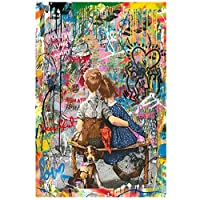 リビングルームのホームインテリア、フレームレスのためのカラフルな男の子と女の子抽象ウォールアート画像を絵画グラフィティストリートアートキャンバスポスターとプリントキャンバス,30×45cm