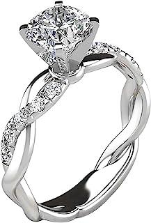 HUAMING Simulation Women Ring Diamond Cross Sterling Silver Diamond Heart Ring White Sapphire Wedding Bride Engagement Heart Jewelry
