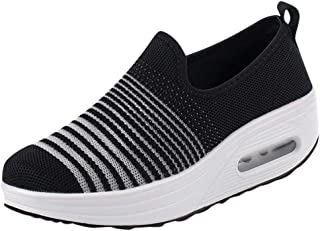 WILLBE Women's Slip On Walking Shoes Lightweight Athletic Running Sneakers Breathable Mesh Shoes Slip-on Sneakers
