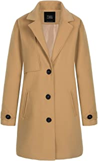 ZSHOW Women's Single Breasted Solid Color Classic Pea Coat