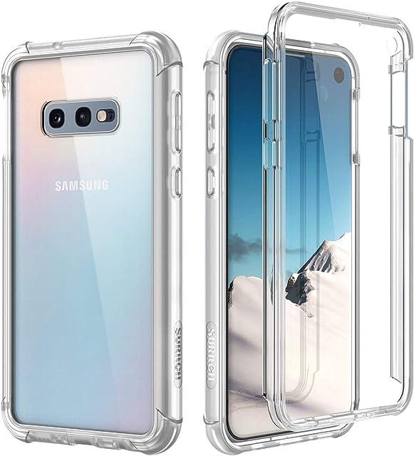 SURITCH Funda Samsung Galaxy S10e 360 Grados Transparente y Protector Antigolpes [Ultra Hybrid] PC Dura Resistente + TPU Silicona Bumper Doble Cara Carcasa para Samsung Galaxy S10e - Claro
