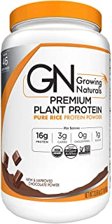 Growing Naturals Organic Premium Rice Protein Powder, Chocolate Power, Non-GMO, Vegan, 33.6 Ounce