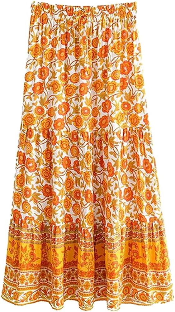 CHIC&TNK Summer Women Yellow Floral Peacock Printed Beach Maxi Skirts Ladies Rayon Boho