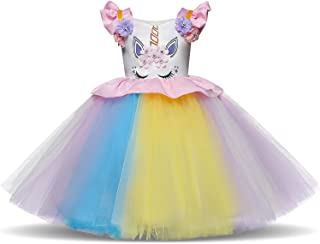 Unicorn Children's Dress Hand-stitched Colorful Mesh Princess Dress Holiday Party Dress Flower Girl Skirt