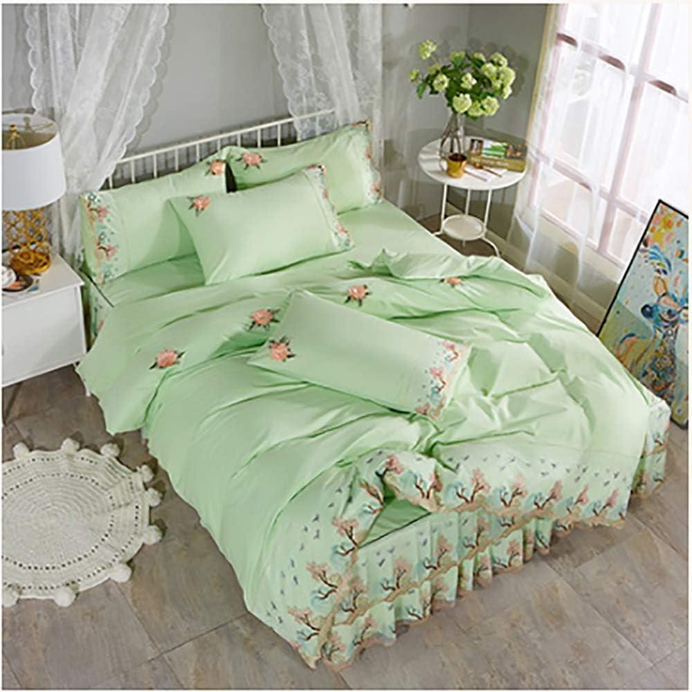Jupe De Lit en Coton Jupe en Dentelle Quatre Pièces Style Drap De Lit Couvre-lit Style Princesse Double 1.8 M Literie en Coton green2