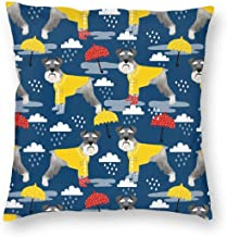 Pillowcases Schnauzer Raincoat Dog Patternpring Navy for Sofa Bedroom livingroomTwo Sides Printing 18x18 inch