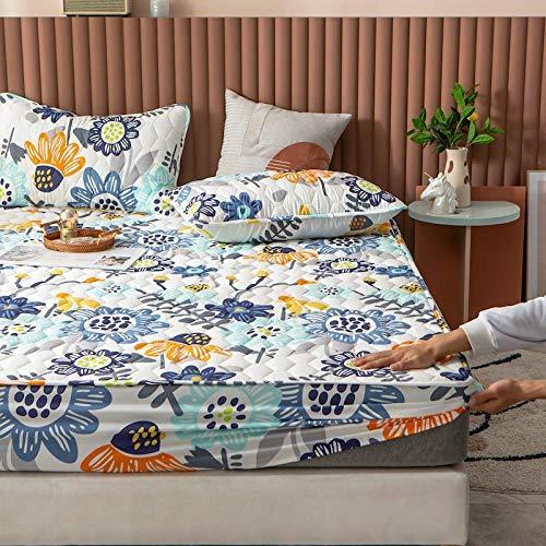 Bedsure Sabanas Bajeras Ajustables -,Sábanas de cama impermeables de algodón de dibujos animados, almohadilla de protección antideslizante para el dormitorio de los niños Apartment-E_180cmx200cm