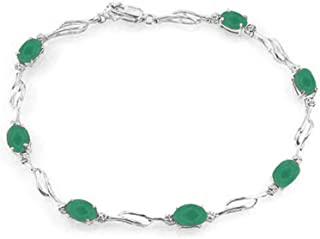 14K Solid White Gold Tennis Bracelet with Natural Emeralds & Natural Diamonds