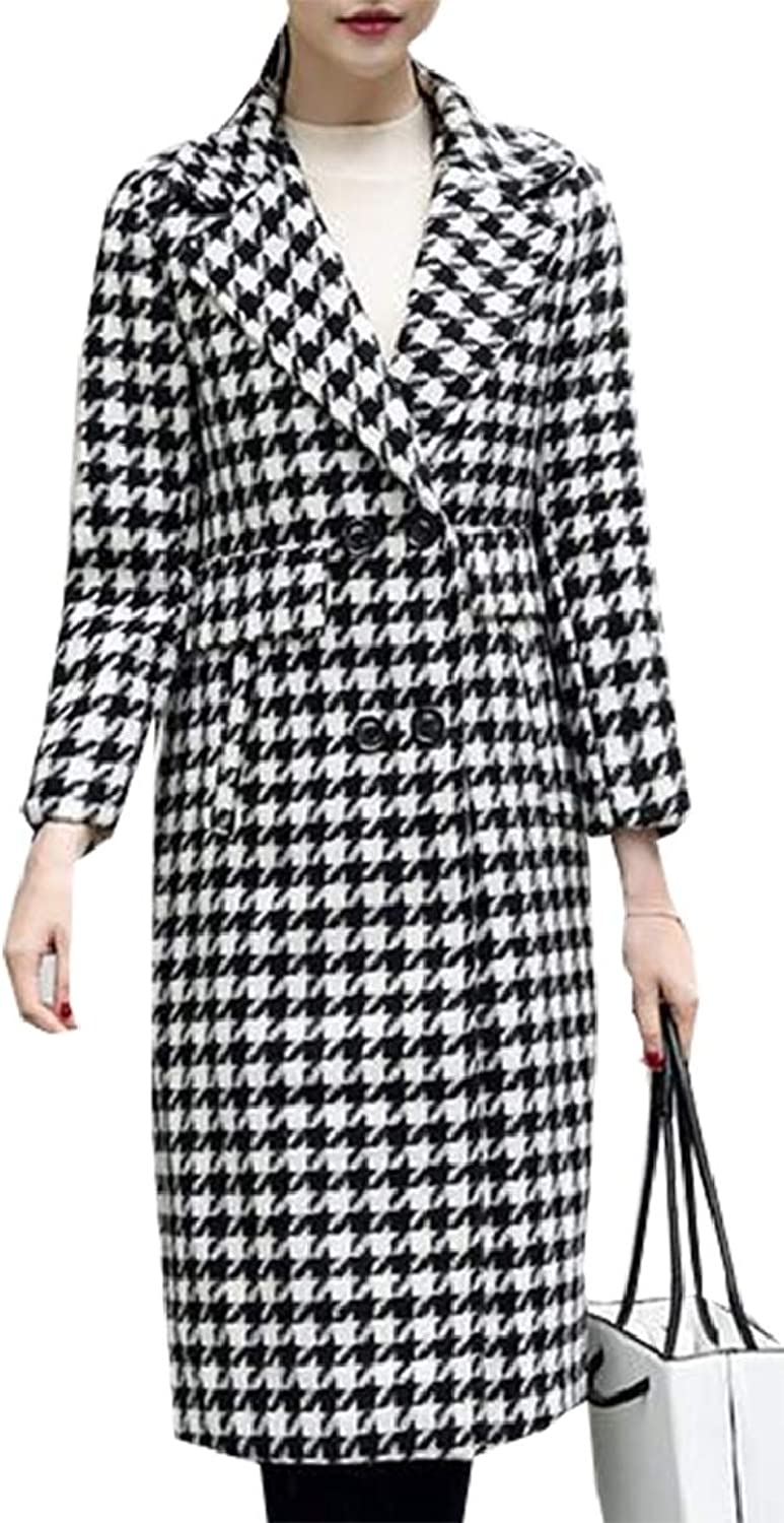 LEISHOP Women 2 Button Houndstooth Mid Length Wool Blend Trench Pea Coat Overcoat