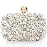 LONGBLE Damen Clutch Perlen Weiß Abendtasche für Party Hochzeit Frau Geschenk Tasche Elegant...