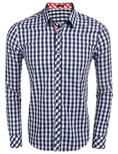 Coofandy Camisa de Vestido Hombre de Cuadros Pequeños Moderna Elegante L