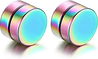 Ameesi Men Fashion Round Stainless Steel Magnetic Clip On No Piercing Ear Stud Earrings