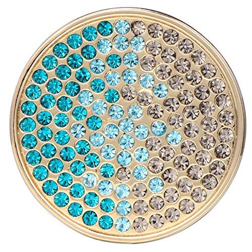 Morella Damen Schmuckmünze Coin 33 mm Zirkoniasteine grün-blau-Silber