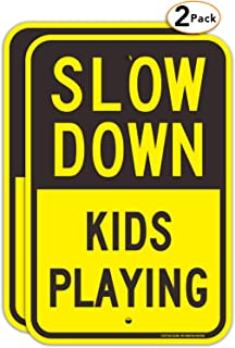 (2 Pack) Slow Down Kids Playing Signs, Slow Down Children Playing Sign, 18 x 12 Inches Engineer Grade Reflective Sheeting Rust Free Aluminum, Weather Resistant, Waterproof, Durable Ink, Easy to Mount