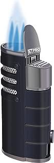 JETPRO Lighter Butane Torch Lighter Triple Jet Flames Heavy Metal Shell with Punch Cutter