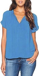 43ee62e3c Camiseta de Gasa para Mujer Sexy Atractiva Cuello V Mangas Blusas Top para  Señoras Blusones Anchas