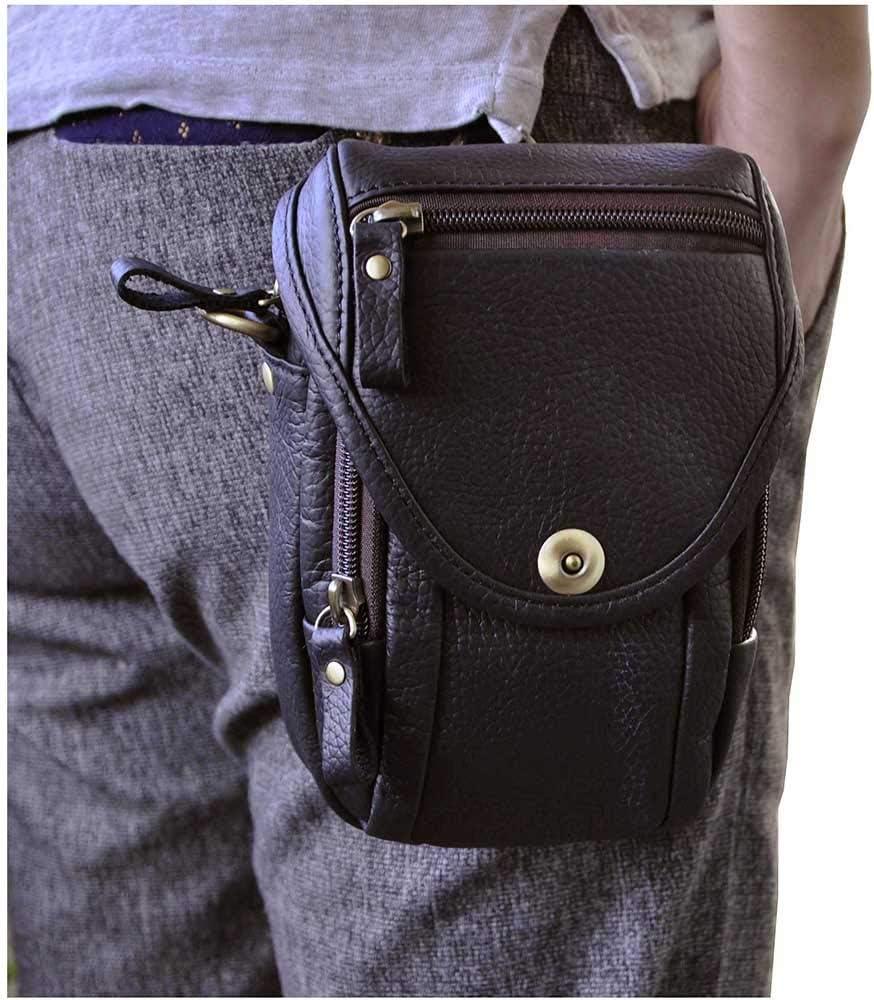 Leaokuu Men Genuine Leather Small Hook Phone Pouch Bum Waist Messenger Bag Pack dark brown 2