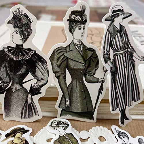 PMSMT 50 unids/Bolsa Vintage Europeo señora Pegatina Impermeable DIY Scrapbooking Diario álbum teléfono móvil Sellado Adhesivo Decorativo