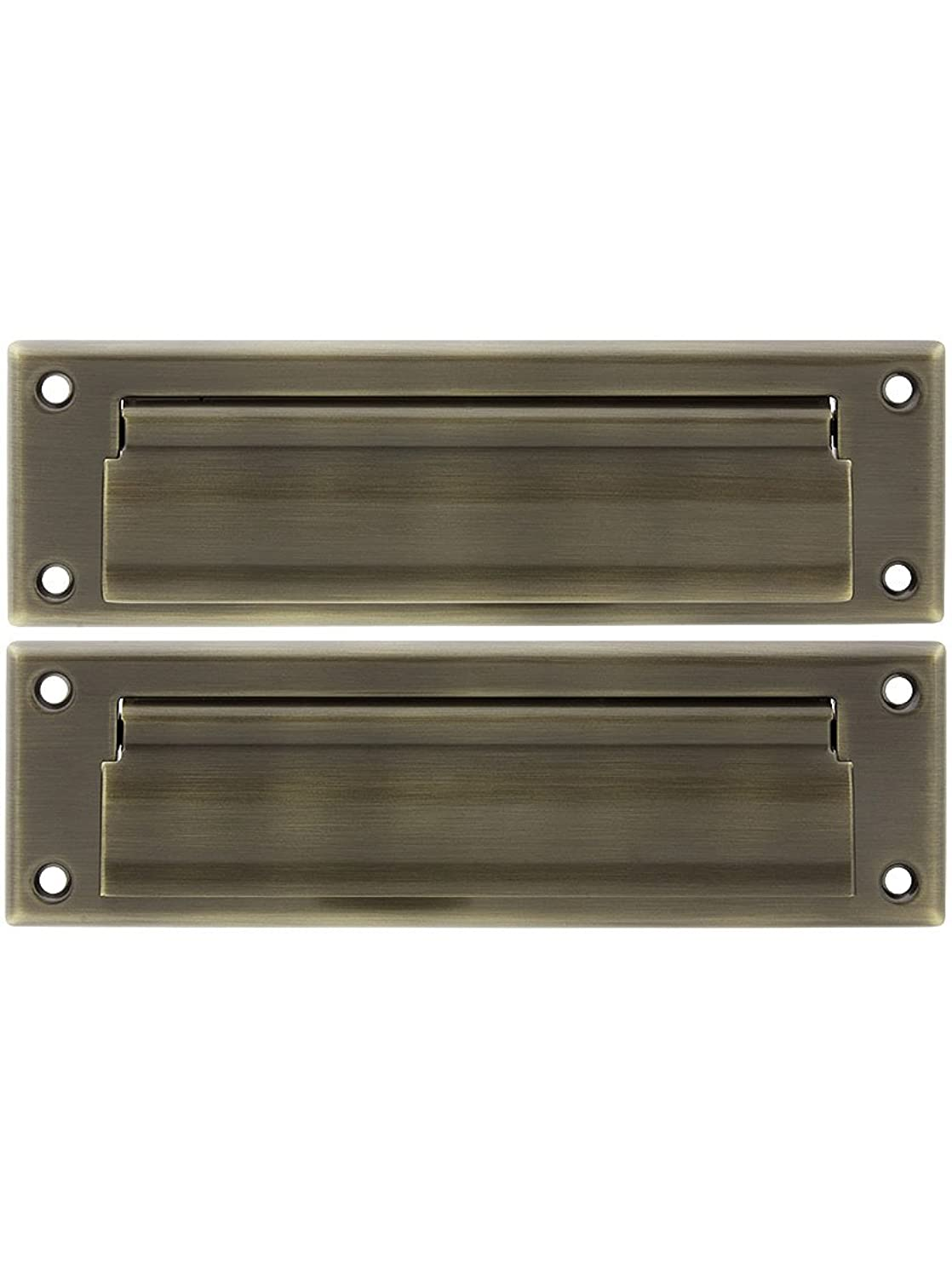 Solid Brass Medium Letter Size Mail Slot with Closed Back Plate in Antique Brass.