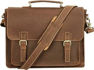Platero Genuine Leather Messenger Bag Men Briefcase for 15.6'' Satchel Laptop Bag for Business Brown
