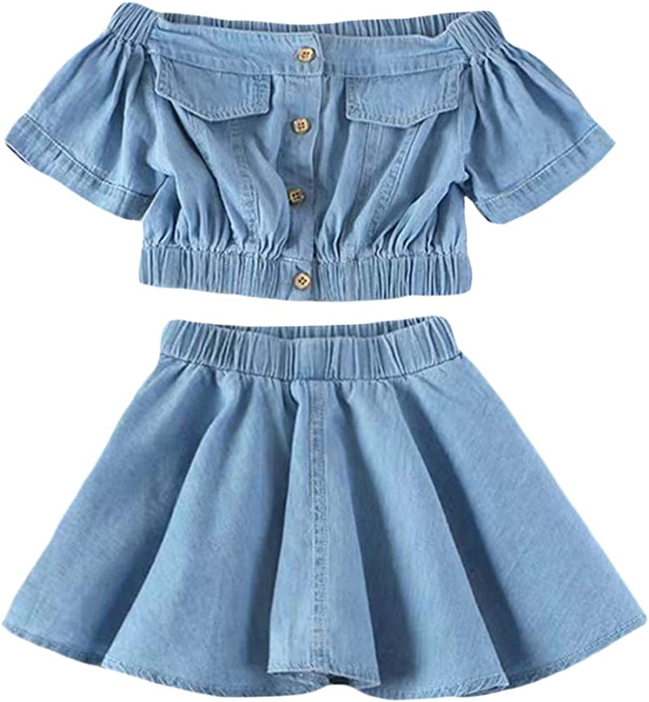 BIUXIAOBAI Over item handling New popularity Little Girls' 2 Pieces Cold Crop Shoulder Denim Top a