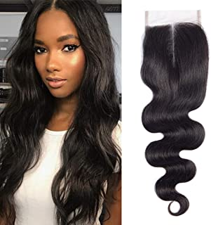 Brazilian Hair 4x4 Straight Middle Part Lace Closure Unprocessed Brazilian Virgin Human Hair Lace Front Closure No Bleached Knots Closure Pieces (16 inch, BODY)