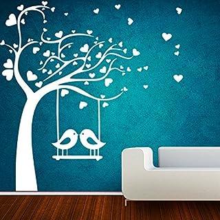 DECOR Kafe Home Decor Birds Swings on Tree Wall Sticker, Wall Sticker for Bedroom, Wall Art, Wall Poster (PVC Vinyl, 99 X ...