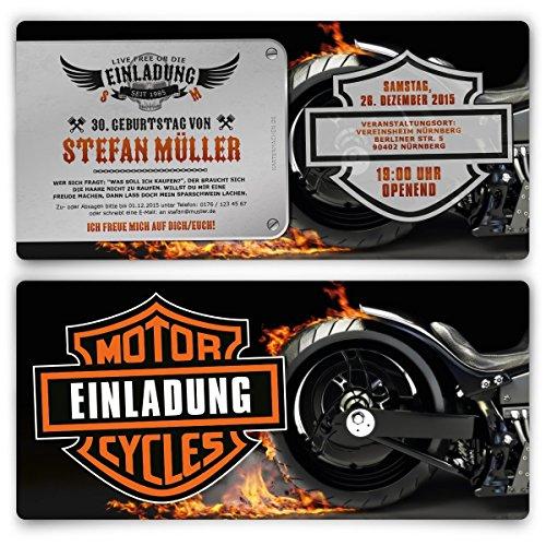 Einladungen zum Geburtstag (30 Stück) Biker Motorrad Motiv Einladungskarten