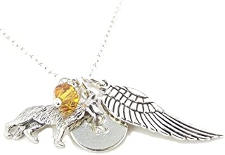 LaFenne Personalized German Shepherd Angel Wing Initial Necklace with Crystal from Swarovski Memorial Gift