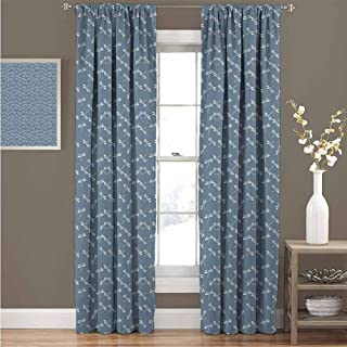 GUUVOR Dragonfly Premium Blackout Curtains Tropical Wildlife Pattern Japanese Style Oriental Nature Inspired Pattern Kindergarten Noise Reduction Curtains W84 x L96 Inch Slate Blue White