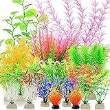 YMHPRIDE 22 Plantas Artificiales para pecera, Plantas de Agua de Algas Marinas para Acuario, Plantas de plástico acuáticas vívidas, Plantas de decoración para peceras de Acuario