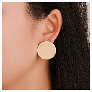 CanB Gold Disc Earring Chic Stud Round Circle Earrings Hoop Earrings for Women and Girls