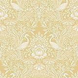 Brewster 2766-24699 Elegans Crane Toile Wallpaper, Mustard