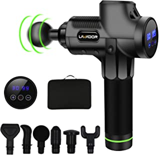 Massage Gun Deep Tissue Percussion Muscle Massager, Portable Handheld Cordless Sports Drill Helps Relieve Muscle Pain Soreness Stiffness (30 Speed Levels,6 Massage Heads,6-8 Hours Endurance)