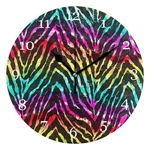 orologio da parete zebrato Orologio da parete con stampa zebra animale arcobaleno Orologio tondo silenzioso senza ticchettio Pittura acrilica Arte Home Office Arredamento scolastico