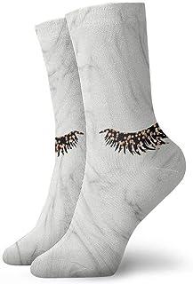 tyui7, Elegantes pestañas negras de oro rosa Calcetines de compresión antideslizantes Calcetines deportivos acogedores de 30 cm para hombres, mujeres y niños
