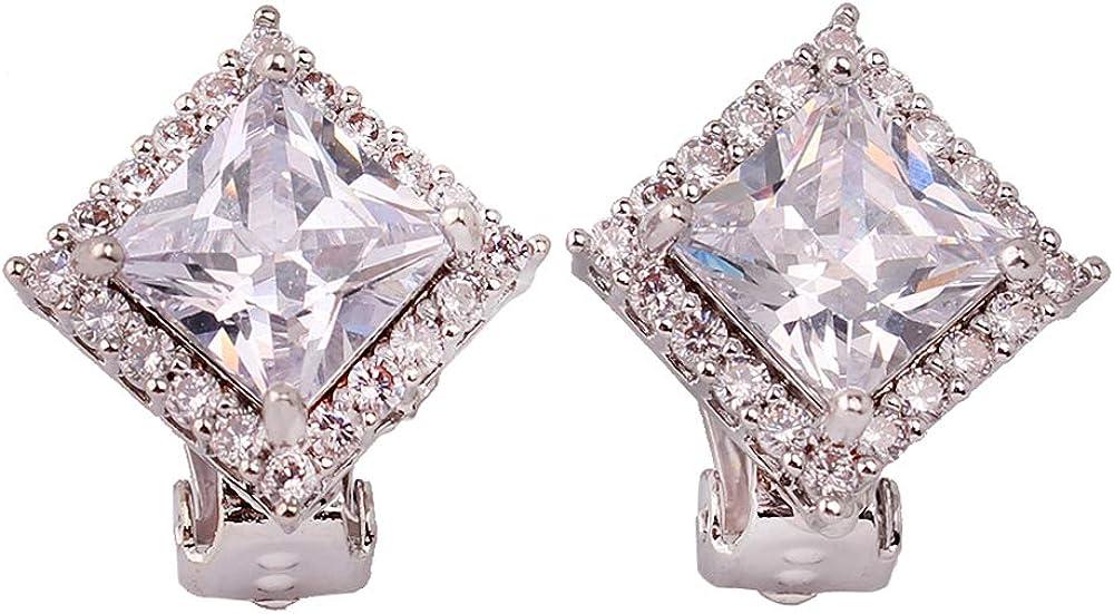 HAPPYAN Geomtric AAA Cubic Zircon Clip on Earrings Fashion Elegant Bridemaid Wedding Non Pierced Earrings