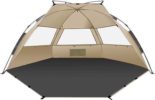TAGVO Abri de Soleil de Tente de Plage de Pop Up avec Porte Dentr/ée UPF 50 Plus Protection Contre Le Soleil 3 fen/êtres maill/ées auvent instantan/é portatif de b/éb/é de Plage l/éger 4,7 Kilos