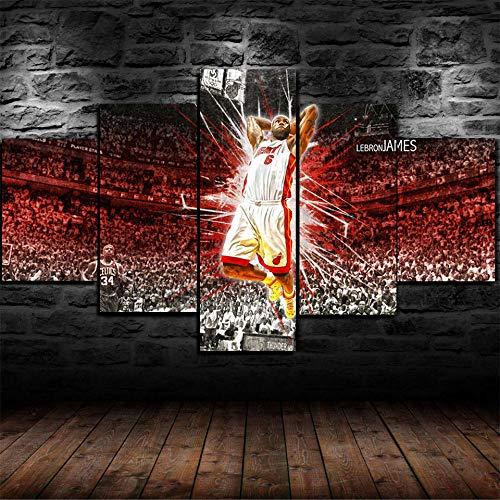 IKDBMUE Tela Divisa in 5 Parti,Basket Sportivo Astratto, per la casa Moderna, Decorazione per Soggiorno,Frameless