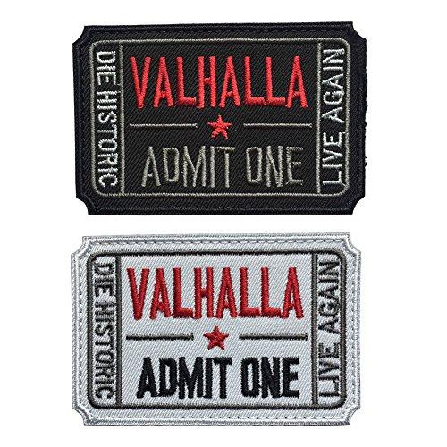 homiego Ticket to Valhalla zugeben Man sterben Historic Live wieder Tactical Moral Badge Haken & Schleife Patch Weiß/Schwarz