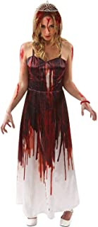 Womens Carrie Bloody Prom Queen Halloween Fancy Dress Costume Red