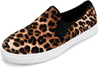 aogula Women Canvas Sexy Leopard Fashion Sneakers Low Top Lightweight Slip on Skate Shoes Cute Classic Walking Shoes Casual Flats